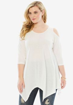 Cold Shoulder Linen Blend Tunic, WHITE, hi-res