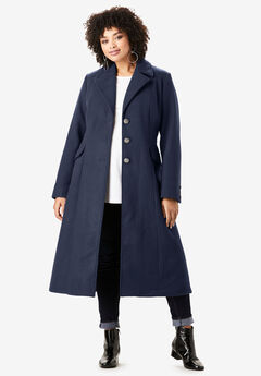 Long Wool-Blend Coat, NAVY