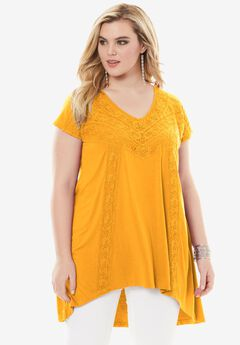 Crochet Swing Tunic, BRIGHT GOLD, hi-res