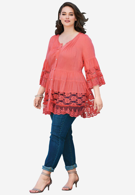 f6a5b104f8d Illusion Lace Tunic  Plus Size Tops   Roaman's