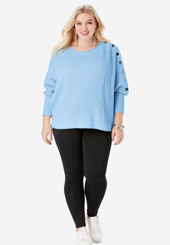 Button-Sleeve Sweater in Shaker Stitch, BLUE MIST