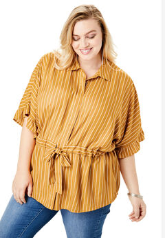 Drawstring Peplum Top, RICH GOLD STRIPE