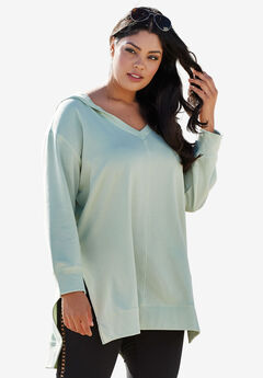 Tunic Hoodie with High-Low Hem, ICE JADE, hi-res