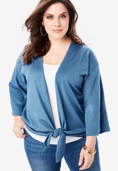 Tie-Front Cardigan with Kimono Sleeves,
