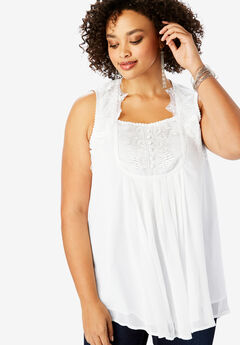 Sleeveless Chiffon Top, WHITE