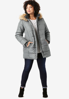 Classic-Length Quilted Parka with Hood, SLATE