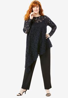 Lace Asymmetric Tunic & Pant Set, BLACK