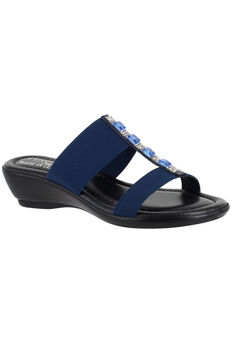 Elba Sandals by Easy Street®, NAVY STRETCH, hi-res