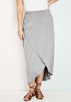 Faux Wrap Maxi Skirt, HEATHER GREY, hi-res