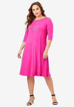 Boatneck Swing Drape Dress with Three-Quarter Sleeves,