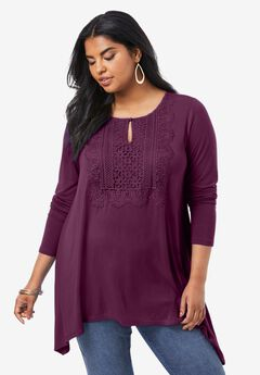 Lace-Front Soft Knit Tunic, DARK BERRY