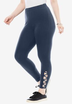 Stretch Crop Lattice Legging, NAVY, hi-res