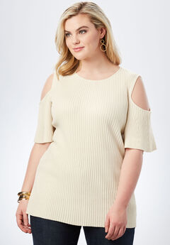a841a6e787300 Ribbed Cold-Shoulder Sweater with Bell Sleeves