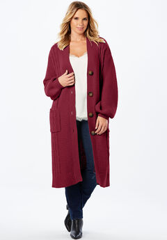 Cable Knit Long Cardigan with Blouson Sleeves,