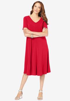 Ultrasmooth® V-Neck Swing Dress, VIVID RED