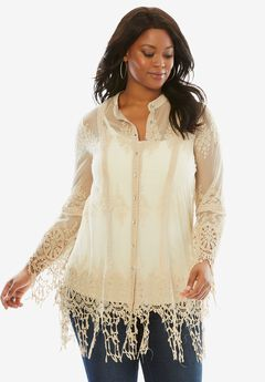 Lace Crochet Tunic with Bell Sleeves, OATMEAL, hi-res