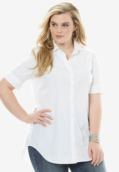 Kate Short-Sleeve Shirt, WHITE, hi-res
