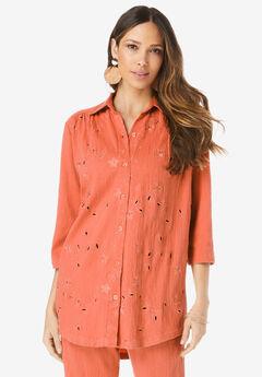 Eyelet Cutout Crinkle-Knit Gauze Big Shirt,