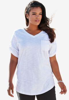 Boyfriend Slub Tunic, WHITE, hi-res
