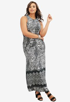 Print Maxi Dress, BLACK WHITE ANIMAL PRINT, hi-res