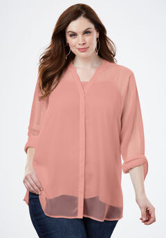 Sheer Crinkle Tunic, PRETTY CORAL, hi-res
