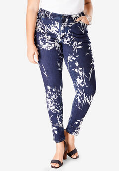 Foil Print Jean with Invisible Stretch® by Denim 24/7®, FLORAL FOIL