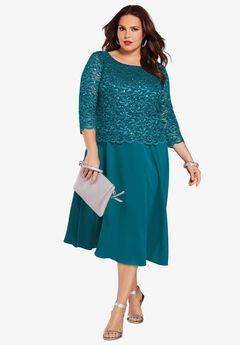 Embellished Lace & Chiffon Dress, DEEP LAGOON