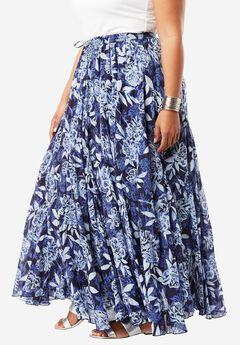 Print Maxi Skirt, NAVY PRINT, hi-res