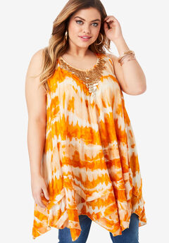 Smocked Racerback Tunic with Embellishments, SPICE TIE DYE