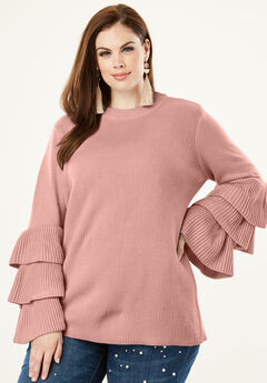 Tiered-Sleeve Sweater, ROSE HAZE