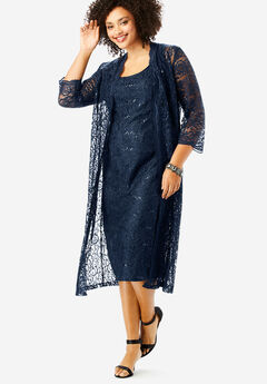 Lace & Sequin Jacket Dress Set, NAVY