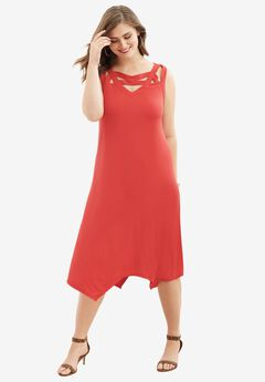 Sleeveless Cutout Trapeze Dress, HOT RED, hi-res