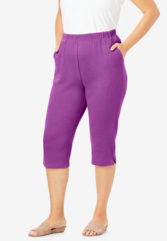 Soft Knit Capri Pant, PURPLE MAGENTA