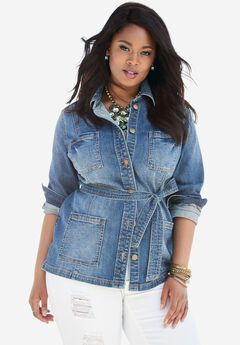 Belted Denim Jacket by Denim 24/7, MEDIUM STONEWASH, hi-res