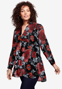 Fit-and-Flare Crinkle Tunic, RED INTRICATE FLORAL