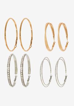 Four Hoop Earring Set,