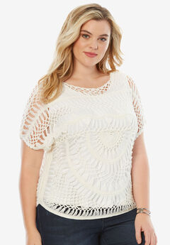 Cropped Crochet Sweater, WHITE, hi-res