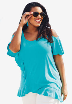 Cold-Shoulder Ruffle Tunic, VIBRANT TURQ, hi-res