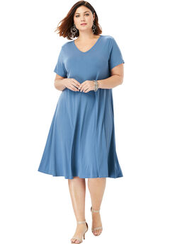 Swing Dress with Curved Hem, DUSTY INDIGO