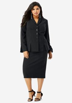 Buttoned Skirt Suit, BLACK