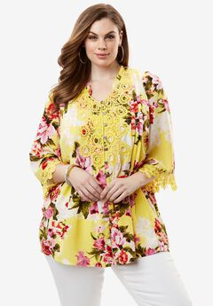 Print Lace Shirt, YELLOW FLORAL PRINT, hi-res