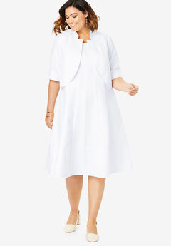 Fit-And-Flare Jacket Dress, WHITE
