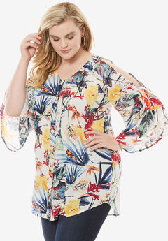 Cold-Shoulder Angelina Tunic, TROPICAL FLORAL PRINT, hi-res