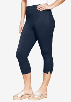 Stretch Capri Leggings, NAVY