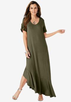 Ruffle-Hem Maxi Dress,