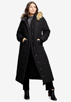 Maxi-Length Quilted Parka with Hood, BLACK