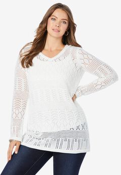 Hooded Crochet Pullover,