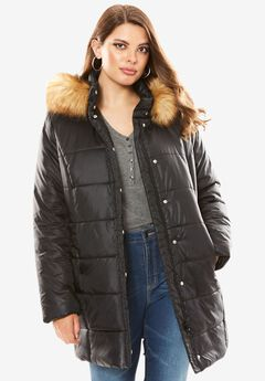 Quilted Faux Fur Trim Thigh-Length Parka, , hi-res