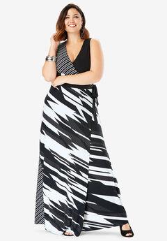 Sleeveless Wrap Dress with Tie Waist, BLACK WHITE GEO
