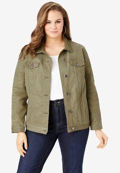 Essential Denim Jacket, GREEN KHAKI